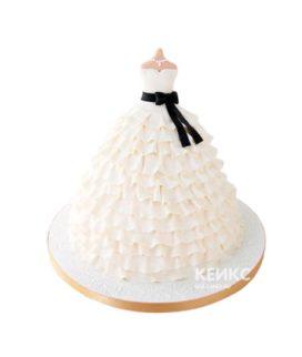 Торт нежно-розовое платье с черным бантиком