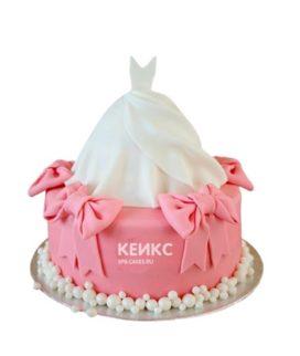 Торт платье белого цвета для девочки