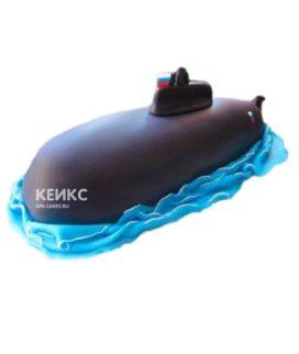 Торт в виде подводной лодки из мастики с российским флагом
