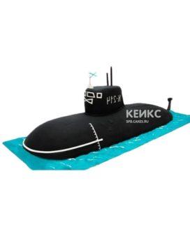 Торт в виде черной подводной лодки с флагом