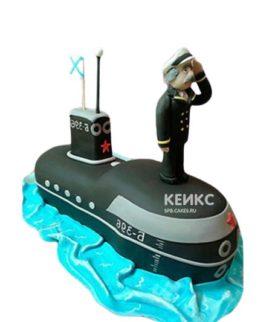 Торт мужчине в виде подводной лодки с фигуркой капитана из мастики