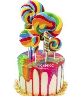 Необычный радужный торт