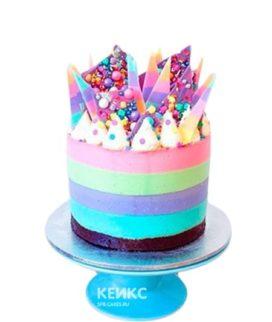 Разноцветный торт радуга со сладостями