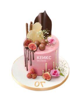 Креативный розовый торт с шоколадной глазурью