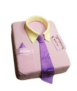 Торт розовая рубашка с сиреневым галстуком