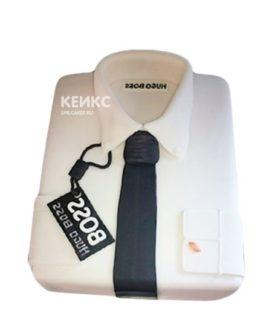 Торт белая рубашка с черным галстуком