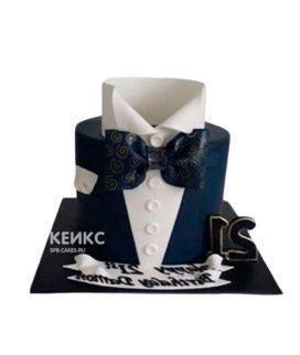 Торт белая рубашка и черная бабочка
