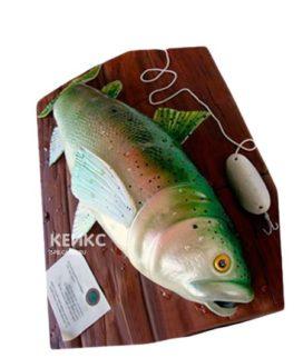 Торт для рыбака в виде настоящей рыбы