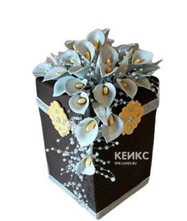 Черный торт с голубыми каллами