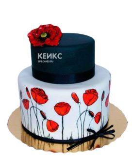 Двухъярусный торт с красными маками