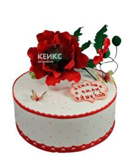 Торт с красными маками и бабочками