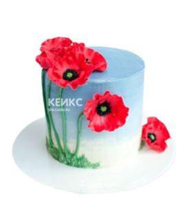 Торт украшеный цветами маками из мастики