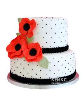 Черно-белый торт с красными маками