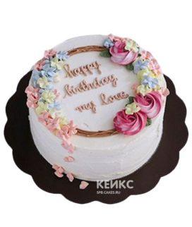 Торт с разноцветными цветами и надписью