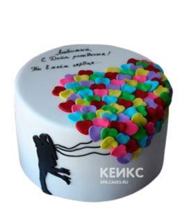 Торт с надписью и разноцветными сердечками