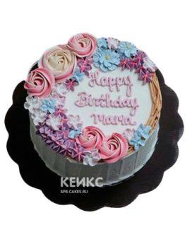 Торт с надписью и кремовыми цветами