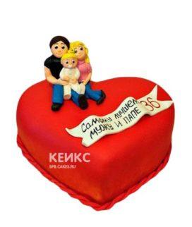 Торт мужчине семья в виде сердца с фигурками