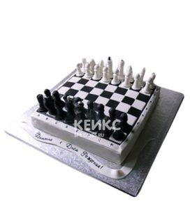 Черно-белый торт Шахматы в виде доски с фигурами