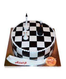 Круглый черно-белый торт Шахматы с медалью