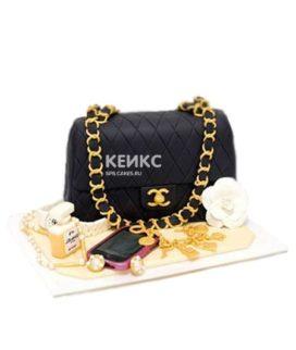 Торт шанель в виде черной сумочки