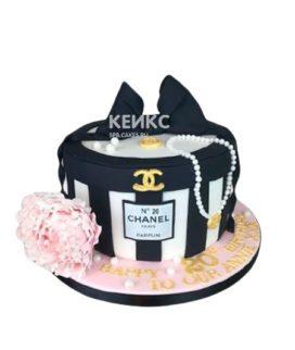 Торт шанель черный бантик и розовый цветок
