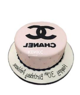 Торт шанель розовый с логотипом