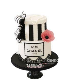 Торт шанель черно-белый с бантиком и цветком