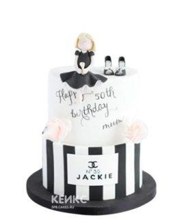 Торт в стиле шанель с фигуркой девочки
