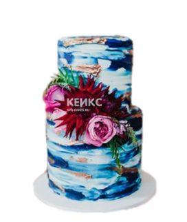 Синий торт с розовыми и красными цветами
