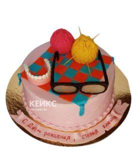 Розовый торт с очками старая клюшка