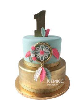 Золотой свадебный торт в стиле бохо с ловушкой снов