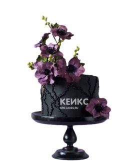 Торт в готическом стиле черный с цветами