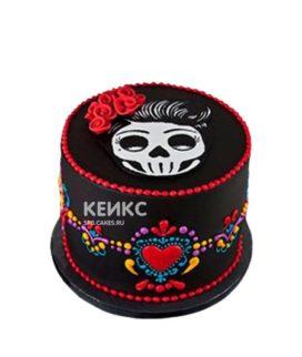Торт в готическом стиле с черепом и сердечком