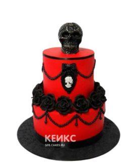 Красный торт в готическом стиле с черными цветами и черепом