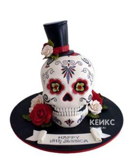 Торт в готическом стиле в виде белого черепа в шляпе