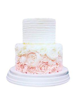 Торт омбре с белыми и розовыми цветами