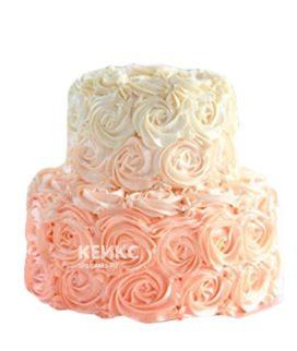 Торт омбре из кремовых роз