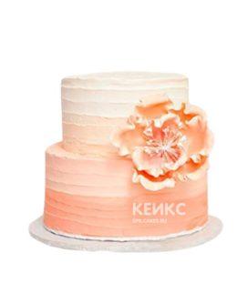 Нежно-розовый двухъярусный торт омбре