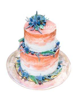 Двухъярусный торт омбре с синими цветами