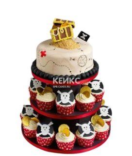 Торт в пиратском стиле с черепами