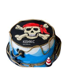Торт в пиратском стиле череп и кости