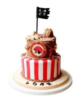 Торт в пиратском стиле с флагом