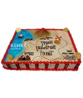 Торт в пиратском стиле в виде карты