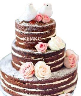 Недорогой свадебный торт с птичками и цветами