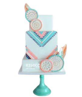 Свадебный торт в стиле бохо розово-голубой