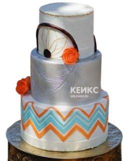 Свадебный торт в стиле бохо с оранжевыми цветами