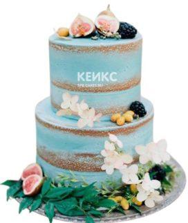 Свадебный торт Тиффани украшенный цветами и ягодами