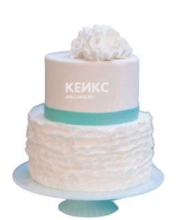 Свадебный торт в стиле тиффани с голубой ленточкой