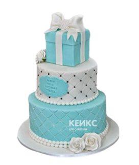 Свадебный торт Тиффани с подарочной коробкой и бантом