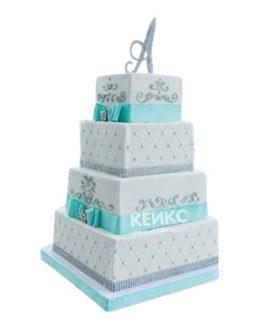 Квадратный свадебный торт в стиле тиффани